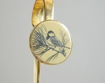 Delart 1981 Creations Gold Tone Bookmark - Black Cream Enamel Bird Theme