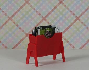 Doll house vintage newspaper rack 1970s red plastic