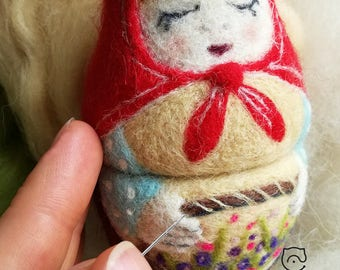 Felted Matryoshka Doll. Traditional Russian doll Matryoshka.