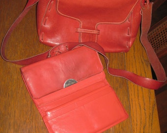 Vintage 1960'S Red Leather Purse with Etienne Aigner wallet long strap handle nice set!!