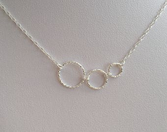 Silver Circle necklace with three circles, gift for mum, gift for wife, aunt, minimal, asymmetric, Sterling silver necklace, Mother Day gift