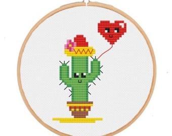 Cross Stitch Kit (Cactus & heart balloon)