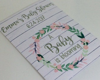 baby flower seed packets, pink wreath baby shower favors, rustic baby shower favors, baby girl favors, pink flower favors, white wood favors
