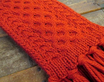 Luxusry Orange Alpaca and Merino Wool Aran Hand Knit Scarf | Orange Wool Scarf | Traditional Aran Scarf | 100% Alpaca & Merino Wool Scarf