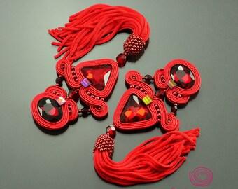 Long red soutache earrings, red tassel earrings, spectacular earrings, extra long earrings, red fringe earrings, evening style boho earrings