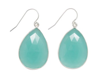 Aqua Chalcedony Gemstone Earrings - Drop Earrings - Dangle Earrings - Gemstone Earrings - Silver Earrings