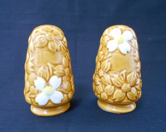 Retro Vintage Salt and Pepper Shakers Yellow with White Flowers - Made in Japan - 1960's  #10301
