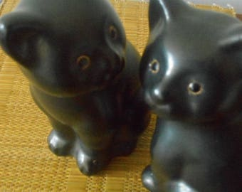Retro Vintage Kitsch Cats ~ Pair of Two Black Siamese Cats