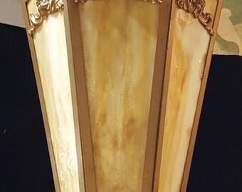 Antique Art Nouveau Brass Lantern with Slag Glass, Antique lanterns, Brass lanterns