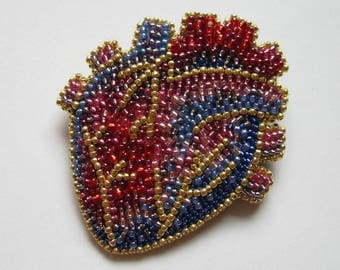 anatomical HUMAN HEART brooch - bead embroidery heart pin