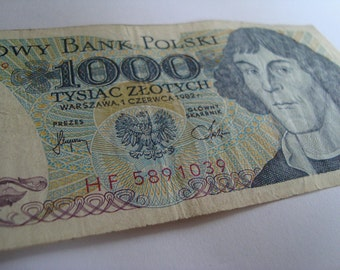 Polish money, 1000 zlotych, European money, Polish currency, Paper Currency, Paper money, Vintage banknotes, Collectible banknote, Polish
