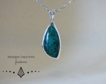 Natural Chrysocole silver necklace.