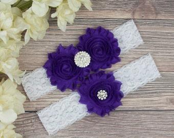 Purple Garter, Purple Wedding Garter, Bridal Garter Set, Purple Bridal Garter, Bridal Garter Belt, Purple Garter, Garter Set, SCWS-P06