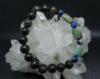 Sea Sediment Jasper Beaded Stretch Bracelet.