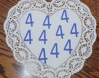 """Number 4 Die Cuts Confetti Embellishments: Blue (Primary Cardstock) (1.0"""" x 1.72"""")"""