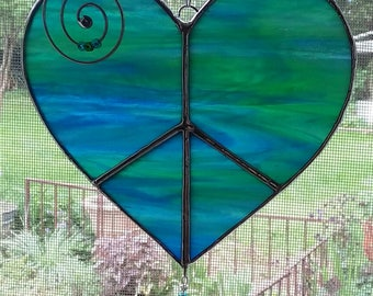 Stained Glass Peace Hearts