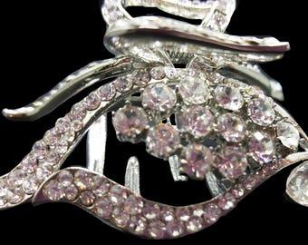 New Silver Crystal CZ Rhinestone 2 1/2'' Hair Clip Claw Clip