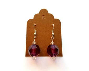 Silver Wires with Acrylic Purple Ball and Crystal Beads Earrings Handmade by Cialeigh