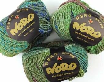 Noro Shinryoku, wool, silk, knitting yarn, color 5, Forest, greens, jumbo skeins