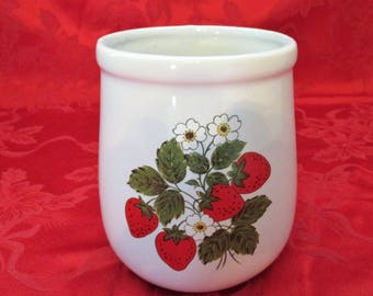 Vintage, McCoy Pottery, Utensil Holder, #135 with a Strawberry Pattern. 1970's