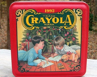 ZERO SHIPPING! Vintage 1992 Crayola Crayons Colorful Holiday Wishes Collectible Tin - 1st In Series