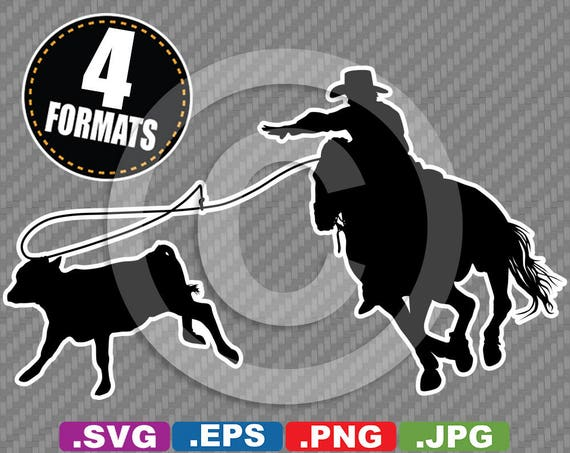 Rodeo Calf Roping Cowboy Silhouette Clip Art Image Svg