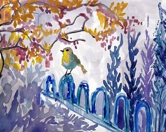 Beautiful bird water color painting PRINT