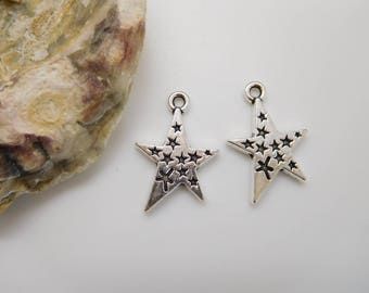 10 charms / pendant 22x15mm silver metal star