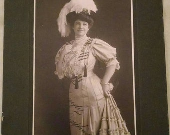 "Large Antique Photo of Well Dressed Woman, Dated Dec 25, '07, Signed ""Lovingly, Josephine"", Cabinet Card"