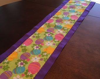 Easter Eggs and Baby Chicks Table Runner (purple on purple detail)