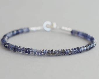 Iolite Bracelet Gemstone Bracelet Stacking Bracelet Beaded Bracelet Gift for Her Dainty Bracelet