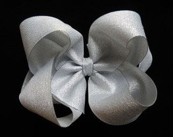 SILVER shimmer hair bow Christmas BIG silver metallic alligator clip 4 inch 5 inch Pageant boutique Cici's