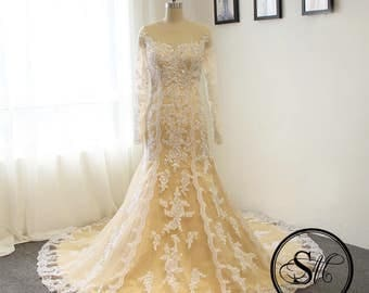 Ivory Champagne Gold Wedding Bridal Dress Gown Mermaid Full Long Sleeves Court Train Off Shoulders Buttons Custom Lace