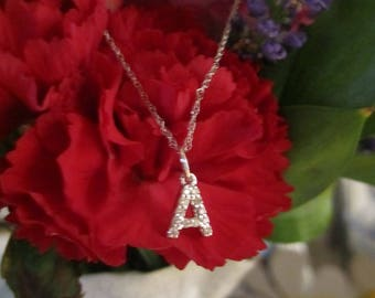 Diamond block initial pendant 14K solid gold A-Z available!