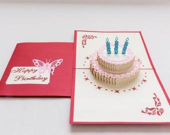 Handmade Chinese Papercut Cards (Happy Birthday Design)