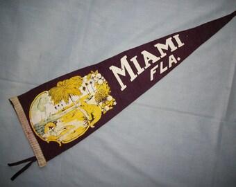 Vintage Pennant Miami Florida Souvenir Pennant Gator Oranges Beach Scene