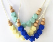 Silicone teething necklace, nursing necklace, silicone beads, baby shower gift • Blue // Mint // Pineapple Yellow •
