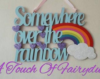 Somewhere over the rainbow glitter plaque
