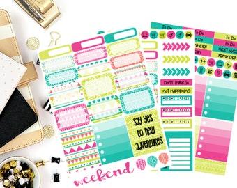 Neon Aztec Weekly Kit Stickers! Perfect for your Erin Condren Life Planner, calendar, Paper Plum, Filofax!