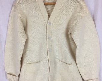 Classic 50's Cream Varsity Cardigan / Vintage 1950's Letterman Sweater