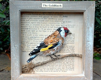 Goldfinch bird art, papier mache bird, garden bird sculpture, recycled bird art, original bird artwork, birds and feathers, nature bird,