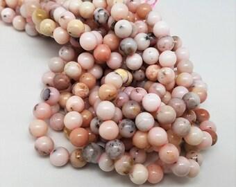 6 mm , 8 mm , 10 mm , Pink Peruvian Opal Smooth Round , 15.5 Inch