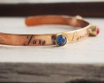 Birthstone bracelet for mom, kids names bracelet for mom, mom jewelry, kids name with birthstones, mom cuff, personalized gift for mom gift