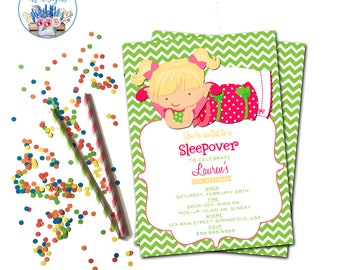 Slumber Party Invitation, Sleepover Birthday Party Invite