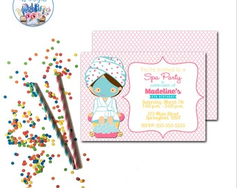 Spa Party Invitation, Girls Spa Birthday Party Invite