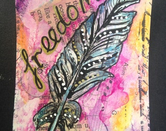Original Inspirational Painting ACEO ATC Small Affirmation Card Freedom Feather - Made to Order