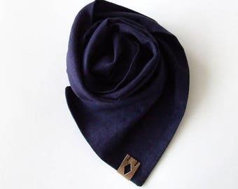 Mens Linen Scarf, Dark Purple Summer Linen Scarf, Classic Men's Scarf, Scarf for Men, Mens Linen Scarf, Gift for Him, Boyfriend Gift