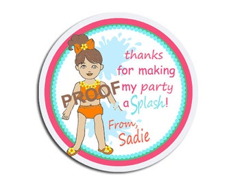 Pool Party GIRL / Goody Bag Labels / Tags or Stickers / Thank You / Labels for Party Favors / Cake Pops / Will be personalized for you!