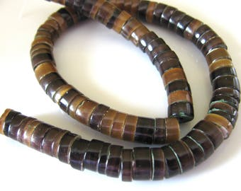 Coconut wood, heishi beads, 10 and 1 half inch strand, 6mm, dark brown, vintage beads, Jewelry supply B-1608