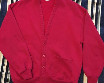 Vintage 1980s Jerzees Sweatshirt Cardigan Mens M/L Made In USA